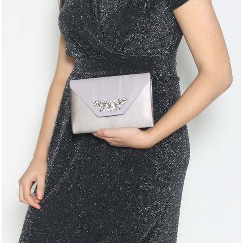 Barino Grey Satin Jewel Detail Bag