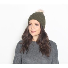 Pieces Khaki Faux Fur Bobble Hat