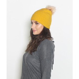 Pieces Mustard Faux Fur Bobble Hat