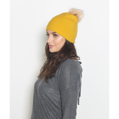 Pieces Mustard Faux Fur Bobble Hat  00f4351b2cf
