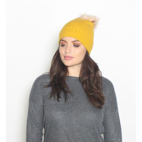 Pieces Mustard Faux Fur Bobble Hat