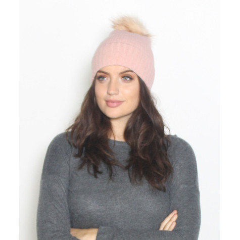 Pieces Pale Pink Faux Fur Bobble Hat