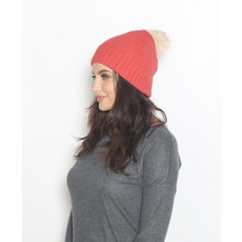 Pieces Coral Faux Fur Bobble Hat
