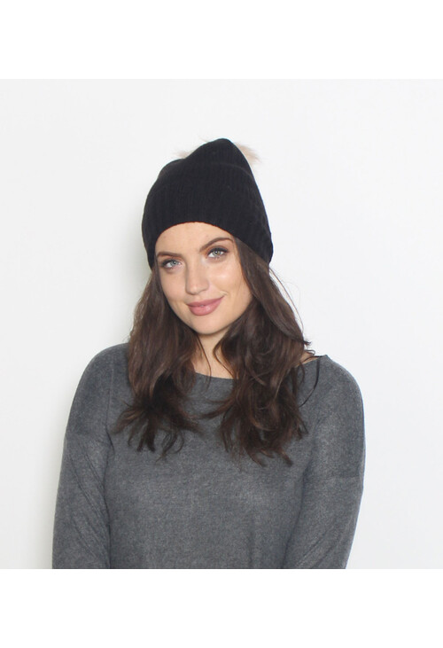 Pieces Black Faux Fur Bobble Hat