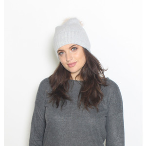 Pieces Grey Faux Fur Bobble Hat