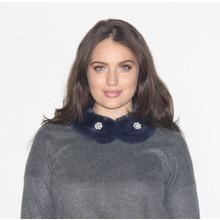 Pamela Scott Maryne Jewel Detail Faux Fur Scarf