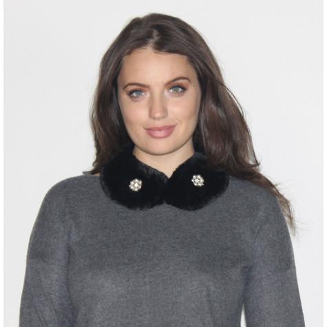 Pamela Scott Nior Jewel Detail Faux Fur Scarf