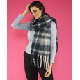 Pamela Scott Navy & Cream Check Soft Scarf