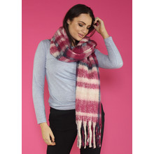Pamela Scott Pink & Navy Check Long Scarf