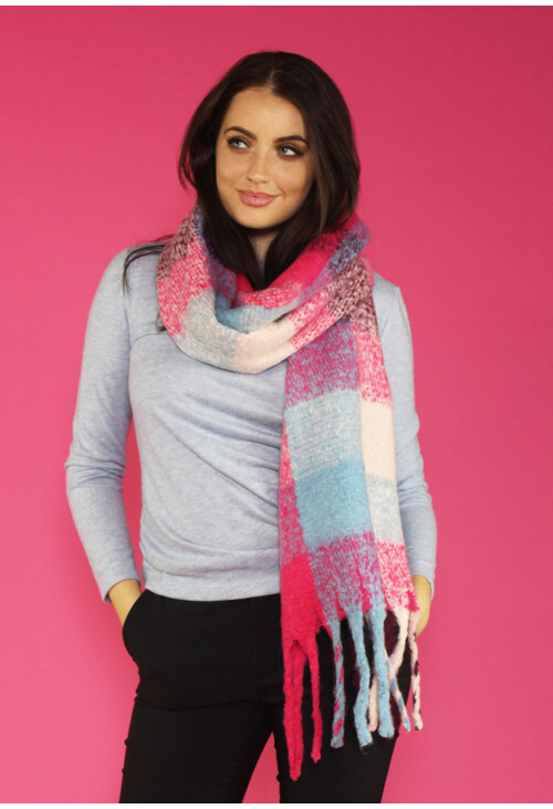 Pamela Scott Pink, Fushia & Navy Long Check Scarf