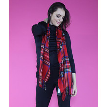 Twist Red Tartan Long Scarf