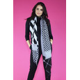 Pamela Scott Black Geometric Pattern Long Scarf