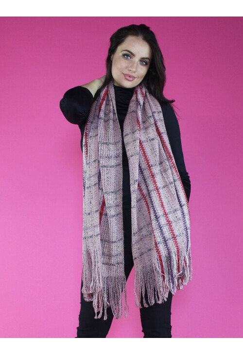 Sophie B Pink Boucle Long Scarf