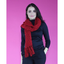 SophieB Red Boucle Long Scarf