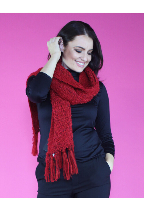 Sophie B Red Boucle Long Scarf