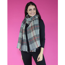 SophieB Red & Grey Strip Long Scarf