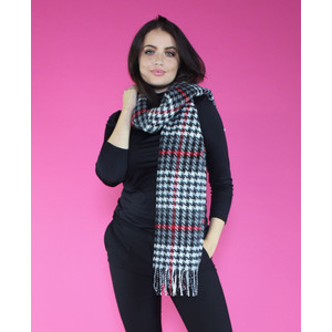SophieB Red Houndstooth Long Scarf
