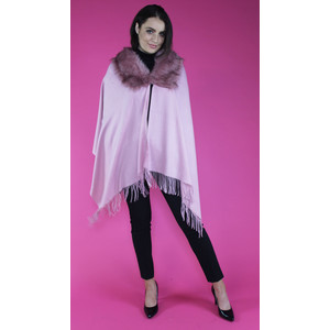 Pamela Scott Dusty Pink Faux Fur Wrap Scarf