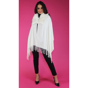 Pamela Scott Cream Faux Fur Wrap Scarf