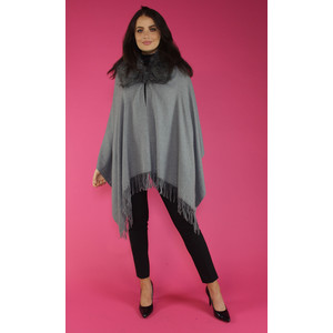 Pamela Scott Grey Faux Fur Wrap Scarf