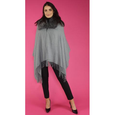 Pamela Scott Grey Faux Fur Wrap Scarf