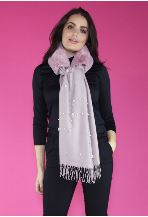 Pamela Scott Rose Faux Fur Pearl Detail Scarf