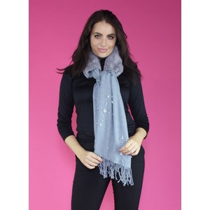 Pamela Scott Grey Faux Fur Pearl Detail Scarf