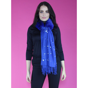 Pamela Scott Royal Blue Faux Fur Pearl Detail Scarf