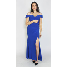 Morgan & Co Royal Blue Off the Shoulder Long Dress