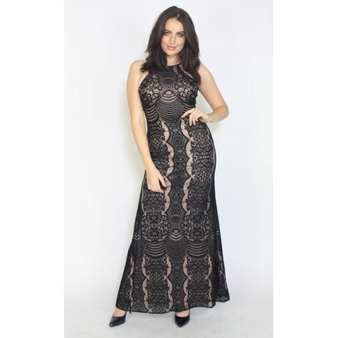 Morgan & Co Black Mesh Halter Neck Long Dress