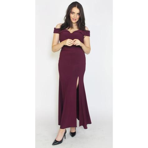 Morgan & Co Wine Off Shoulder Long Dress