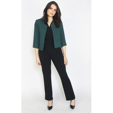 Zapara Bottle Green Crop Plain Jacket