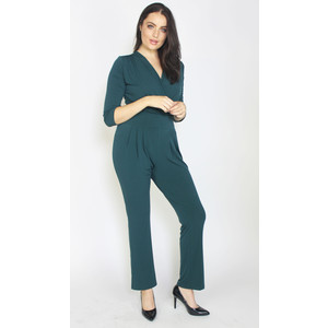 Zapara Bottle Green V-Neck Jumpsuit