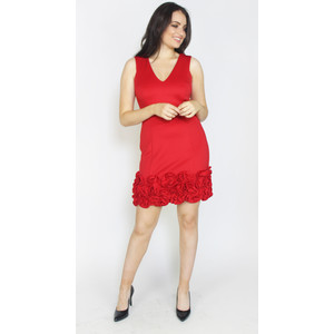 Donna Ricco Red Frill Hem Dress