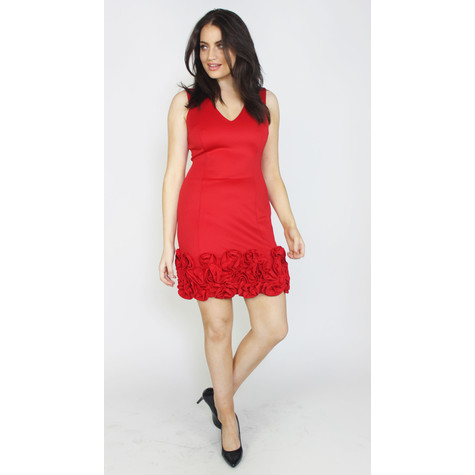 Donna Ricco Red Frill Hem Dress