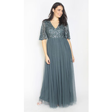 Maya Petrol Blue Sequins Tulle Dress