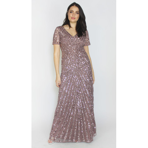 Maya Twilight Sequins V-Neck Long Dress