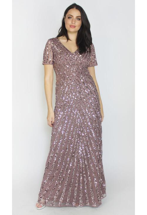 Maya Twilight Sequins V-Neck Long Dress