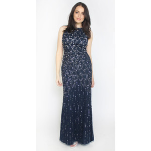 Maya Navy Sequins Shoulder Strap Dress