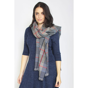 SophieB Blue & Grey Spot Check Pattern Scarf