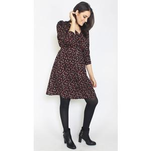Zapara Black & Red Floral Print Dress