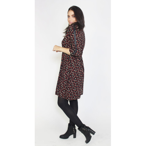 Zapara Black & Red Floral Print Dress