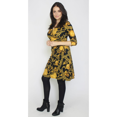 Zapara Black & Gold Greek Print V-Neck Dress