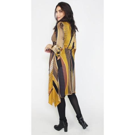 SophieB Ochre & Black V-Neck Wrapped Dress
