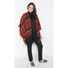 Twist Red & Black Big Check Poncho