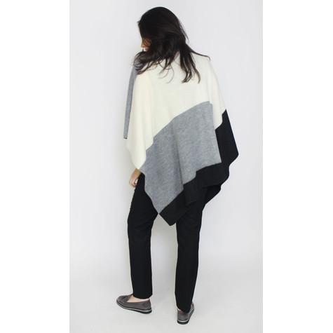 SophieB Cream & Grey Block Knit Poncho