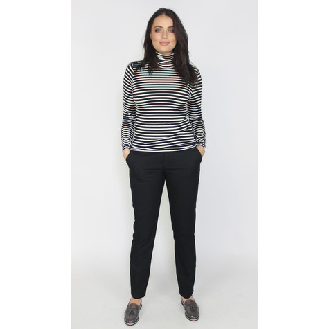SophieB Black & Ecru Strip Turtleneck Top