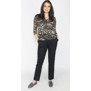 Zapara Beige & Black Leopard Print V-Neck Top