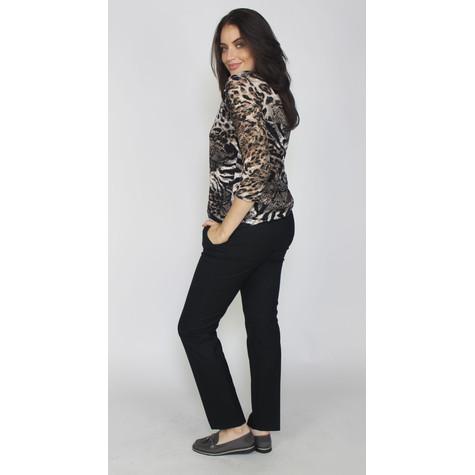 Zapara Beige & Black Leopard Print V-Neck Top