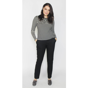 SophieB Black & Ecru Strip Top